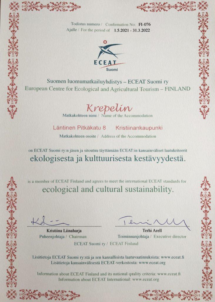 Hotelli Krepelin - STF - ECEAT Finland-sertifikaatti